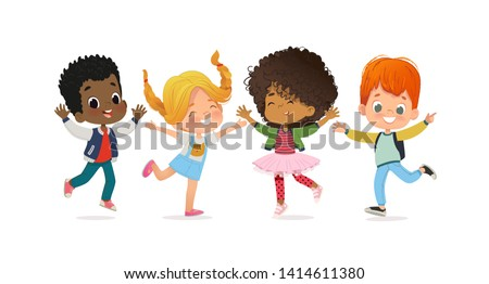 Multiracial school kids. Boys and girls are playing together happily jump. Kids Play at the grass. The concept is fun and vibrant moments of childhood. Vector illustrations