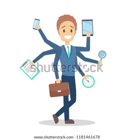 Multitasking businessman. Effective and talented employee or workaholic walking. Doing many things at once. Isolated flat vector illustration Сток-фото ©