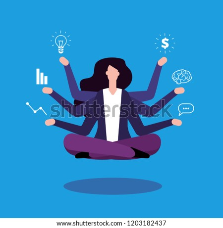 Multitasking businesswoman. Office manager administrator doing professional tasking. Effective management vector concept. Lady multitasking business busy, businesswoman manager illustration
