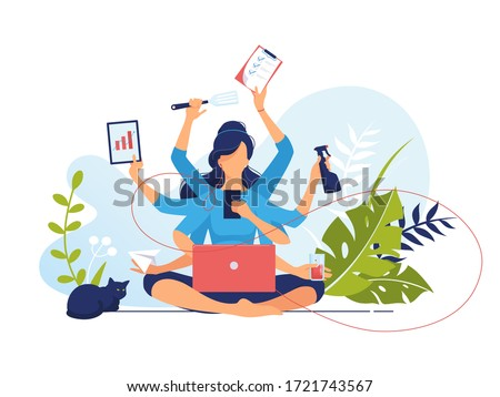 Multitasking. Busy woman with many arms doing many tasks at the same time. Vector flat illustration concept freelancer character work from home office. Time management. Data Analysis. Businesswoman