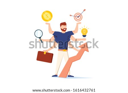Multitasking Efficient Business Success Concept with Business Character with Six Hands Doing Several Actions. Time Management Banner with Productive Man for Website, Web Page. Flat Vector Illustration