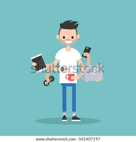Multitasking millennial concept: young bearded man using a lot of devices at the same time  / flat editable vector illustration