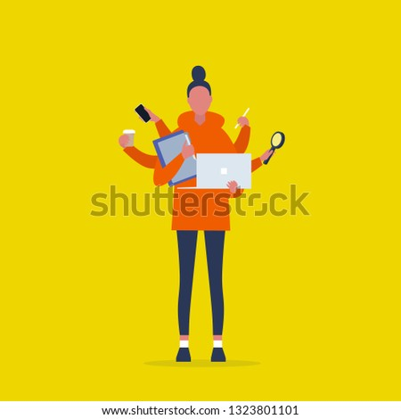 Multitasking millennial concept. Young female character with six hands doing a lot of tasks at the same time  / flat editable vector illustration