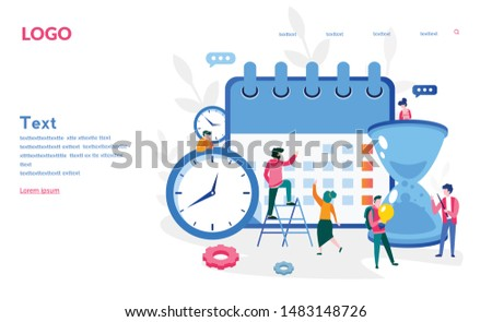 Multitasking, productivity and time management concept. Calendar ,hourglass and working on her laptop business process icons and infographics on background.