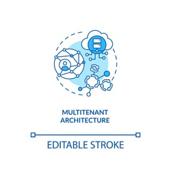 Multitenant architecture concept icon. SaaS advantage idea thin line illustration. Operating in shared environment. Multi-tenant database. Vector isolated outline RGB color drawing. Editable stroke