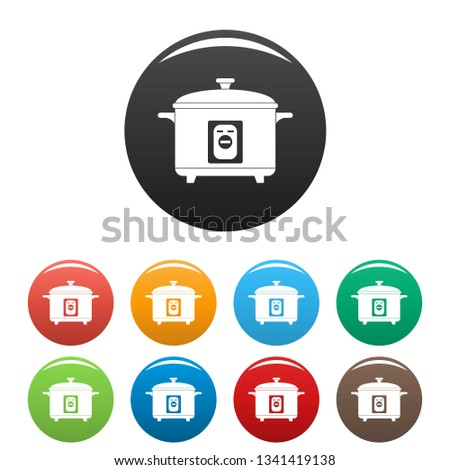 Multivariate icons set 9 color vector isolated on white for any design