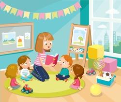 Mum nurse teacher reading book to children kids pupils in a kindergarden classroom at  primary school, pre-school, home.Reading books for kids. Babysitting. Children listen to teacher.