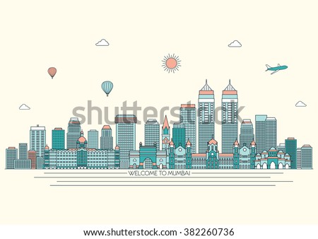 Mumbai detailed skyline. Travel and tourism background. Vector background. line illustration. Line art style