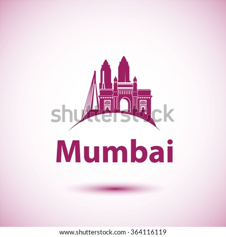 Mumbai India Skyline Silhouette Black Vector Design On White Background Illustration Icon