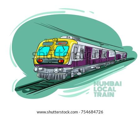 Mumbai local train vector illustration