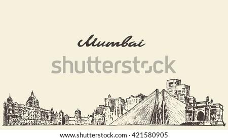 mumbai skyline  vintage vector...