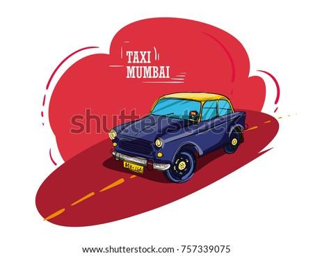 Mumbai taxi illustration vector