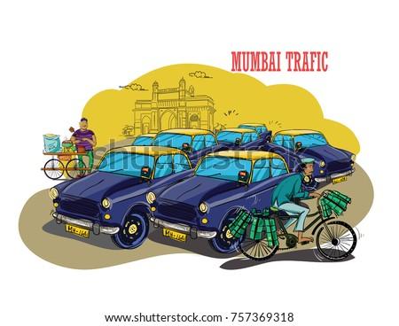 Mumbai traffic vector illustration