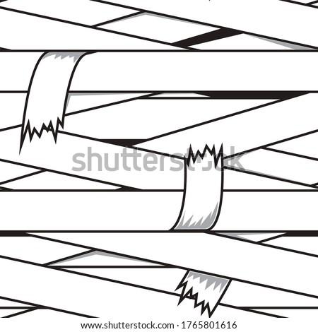 Mummy bandages seamless pattern. Cartoon vector illustration. Halloween print for kids t-shirt. Сток-фото ©
