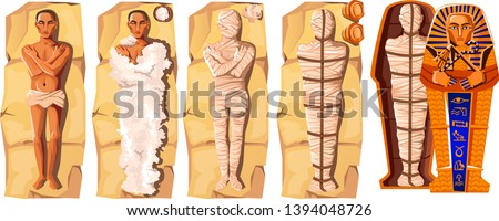 Mummy creation cartoon vector illustration. Stages of mummification process, embalming dead body, wrapping it with cloth and placing in Egyptian sarcophagus. Traditions of ancient Egypt, cult of dead Stock photo ©