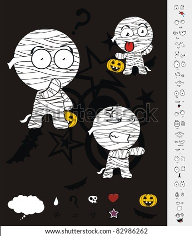 mummy hallooween cartoon set in vector format