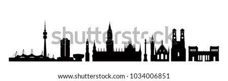 Munich city, Germany. Landmark buildings silhouette set. Travel Bavaria background. German city famous place icons