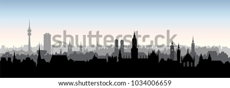 Munich city, Germany. Urban panoramic cityscape. Landmark buildings silhouette skyline. Travel Bavaria background