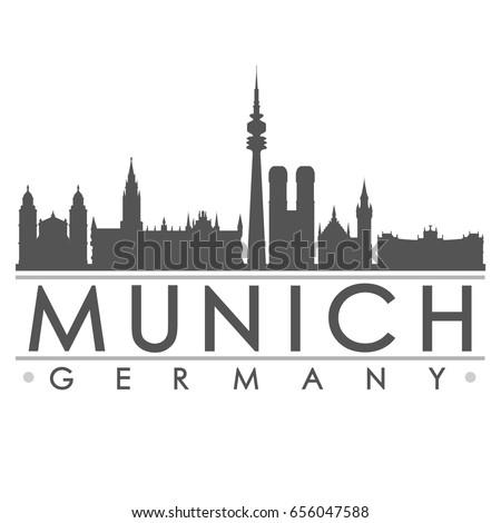 Munich Silhouette Skyline Stamp Vector City Design