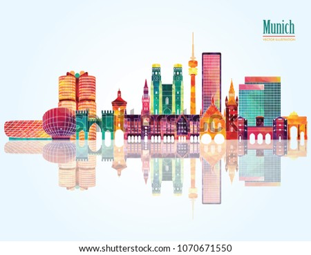 Munich skyline detailed silhouette. Travel and tourism background. Vector illustration