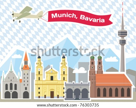 munich skyline  illustrations