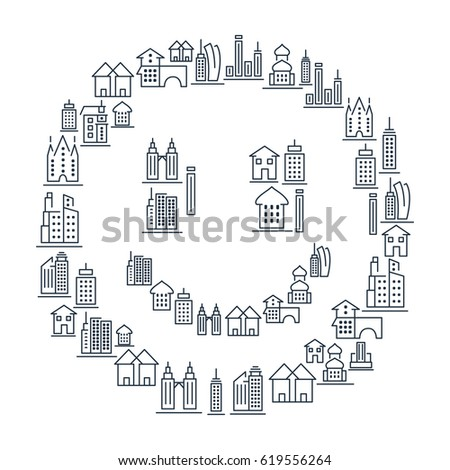 Municipal and living buildings icons set in lined style in smile shape on white background isolated vector illustration