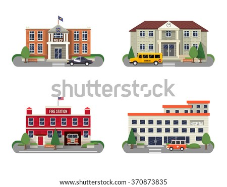 municipal buildings icons set