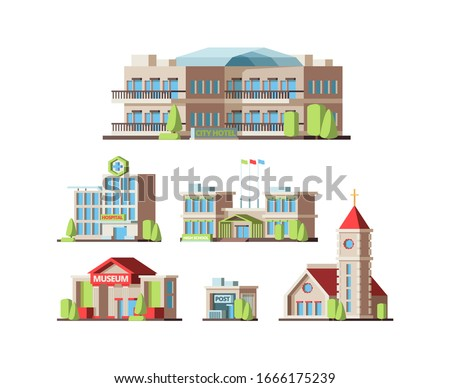 Municipal buildings. Urban houses hotel school hospital Institute post office and Church. Vector flat pictures stock photo