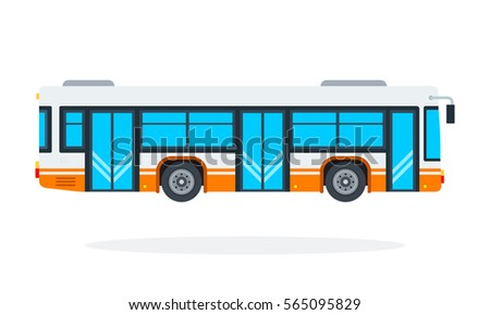 municipal bus vector flat