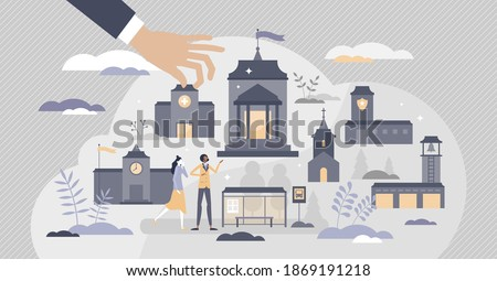 Municipality authority with administrative buildings set tiny person concept. Hospital, town hall, church, fire or bus station and police department as government public buildings vector illustration.