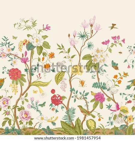 Mural. Bloom. Blooming trees. Vintage floral illustration