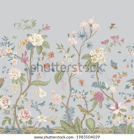 Mural. Bloom. Chinoiserie inspired. Vintage floral illustration. Pastel colors