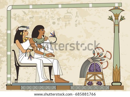 Murals with ancient egypt scene.Ancient egypt banner.Egyptian hieroglyph and symbol.