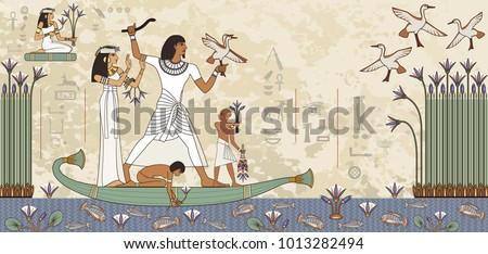 Murals with ancient egypt scene.Egyptian hieroglyph and symbol.