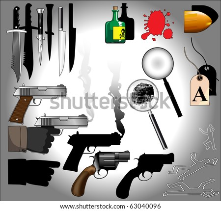 Murder mystery objects including guns, knives, forensics, magnifying glasses, bullets, blood, finger prints : Shutterstock