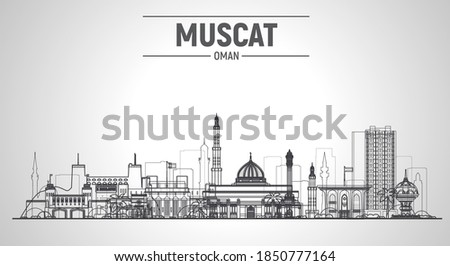 Muscat (Oman) line city skyline. Stroke vector illustration. Business travel and tourism concept with modern buildings. Image for banner or web site.
