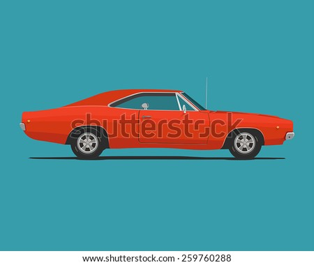 muscle car flat styled vector