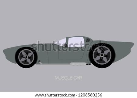muscle car fully editable  flat