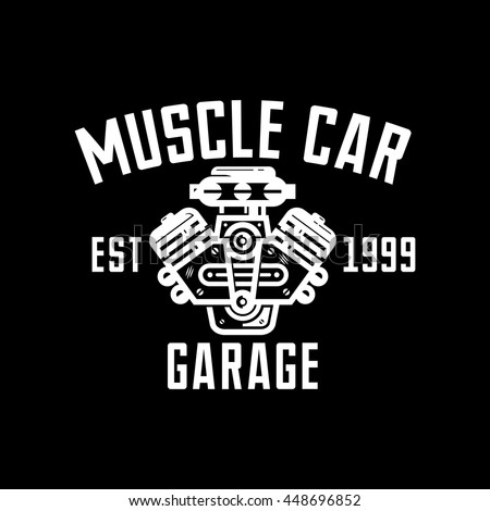 Royalty Free Muscle Car Garage Retro Style Logo 448696846 Stock