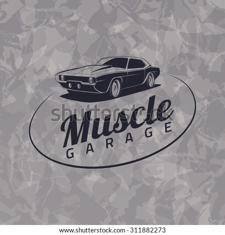 muscle car logo on grunge gray