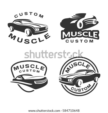 Vector Images Illustrations And Cliparts Muscle Car Logo Set - Muscle car repair