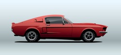 Muscle car, view from side, in vector.