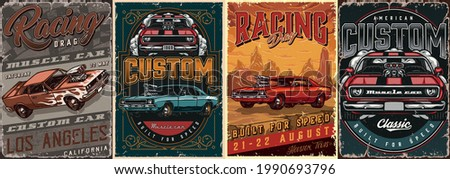 Muscle cars vintage colorful posters with inscriptions and powerful american cars vector illustration
