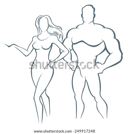 muscle man and fitness woman