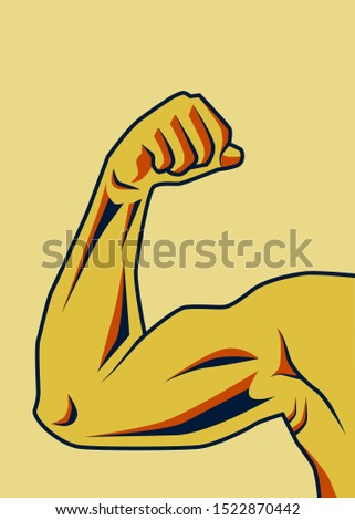 Muscle symbol. Bodybuilder and weightlifter arms sign. Perfect for bodybuilding and fitness clubs.