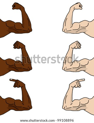 muscular cartoon arms in different positions stock vector