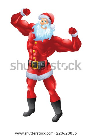 muscular santa claus posing