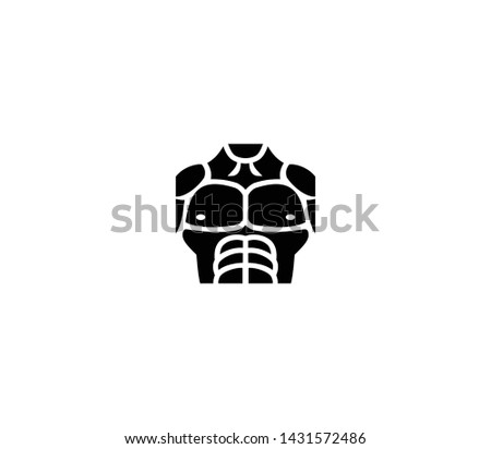Muscular torso vector isolated flat illustration. Muscular torso icon