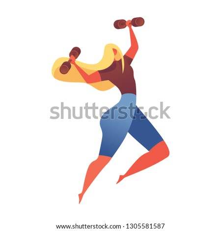 Muscular young girl jumping with little dumbbels. Isolated on white vector sport character good for gym or aerobic classes