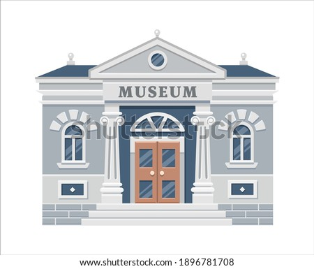 Museum building exterior with title and pillars isolated on white background. Urban architecture. Public government building. Art Museum of Contemporary Painting. Vector flat illustration